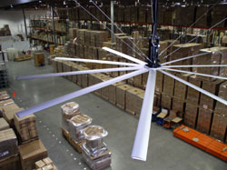 A MegaFan located in a warehouse environment